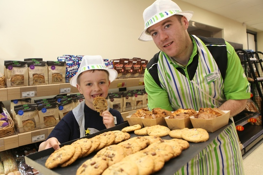 Luke Chapman (9), who was born with complex heart defects, has made it his mission to celebrate a national holiday every day throughout 2015 in order to raise money for When You Wish Upon A Star. National Biscuit Day is on 29 May, so the bakery team at Asda Marple help Luke to celebrate the national day. Pictured with Marcus Birtwistle, colleague at in the bakery at Asda Marple. Picture: Jason Lock Further Info: Sophie Dinsdale Sophie.Dinsdale@havasww.com Tel 0161 234 9760 Mob 07841 279 851 Full credit always required as stated in T&C's. PR and Press Release Distribution, no further reproduction without prior permission. Picture © Jason Lock Photography +44 (0) 7889 152747 +44 (0) 161 431 4012 info@jasonlock.co.uk www.jasonlock.co.uk