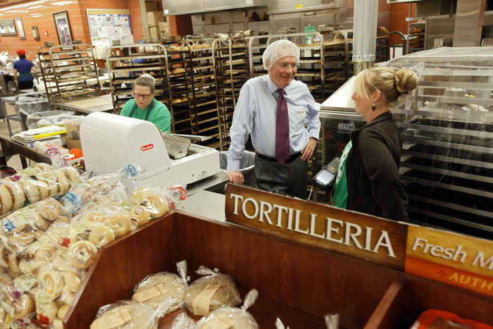 Kroger CEO, Rodney McMullen, talks with Kriste Ashcraft, bakery manager of the Anderson Twp. location, on Tuesday, June 10, 2014. McMullen took position as the Kroger Company CEO on January 1, 2014. The Enquirer/ Amanda Rossmann