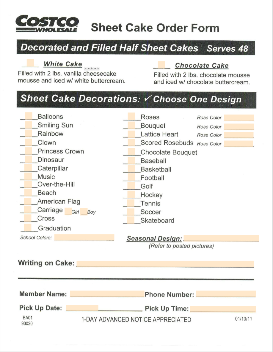 Costco Cake Order Form Download Or Order Online Bakery
