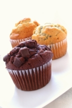 muffin selection on white background